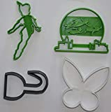 PETER PAN FLYING TINKER BELL HOOK DISNEY SET OF 4 SPECIAL OCCASION COOKIE CUTTERS BAKING TOOL MADE IN USA PR1084