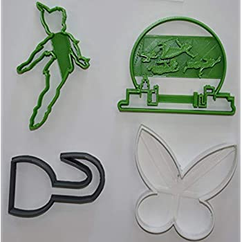 c88dd7ec PETER PAN FLYING TINKER BELL HOOK DISNEY SET OF 4 SPECIAL OCCASION COOKIE  CUTTERS BAKING TOOL MADE IN USA PR1084