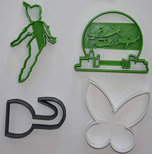 PETER PAN FLYING TINKER BELL HOOK DISNEY SET OF 4 SPECIAL OCCASION COOKIE CUTTERS BAKING TOOL MADE IN USA ()