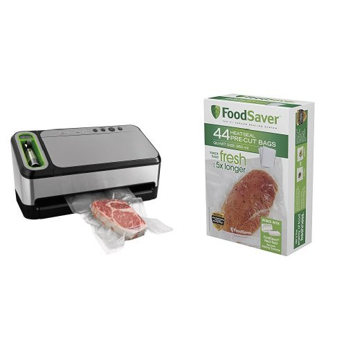 FoodSaver 2-in-1 Vacuum Sealing System with Starter Kit, 4800 Series, v4840 & FoodSaver FSFSBF0226-FFP Bags with Unique Multi Layer Construction Vacuum Sealers, 44 Quart Size Bags, Clear