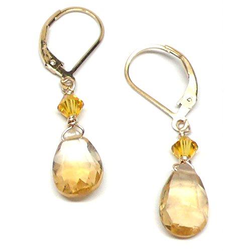 (Citrine Briolette 10x7mm Lever Back Earrings Swarovski Crystal Gold-Filled)
