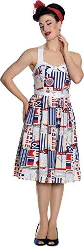 Blau Lighthouse Sailor Weiß Bunny Swingkleid Hell Rot Kleid Damen UqwZWPYxf