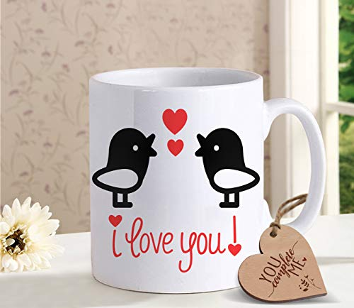- TIED RIBBONS Gift for Girlfriend BoyFriend Husband Wife Him Her Men Women I Love you Printed Coffee Mug with Wooden Tag