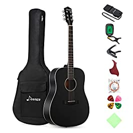 Donner DAG-1B Black Beginner Acoustic Guitar Full Size, 41″ Dreadnought Guitar Bundle with Gig Bag Tuner Capo Picks Strap String