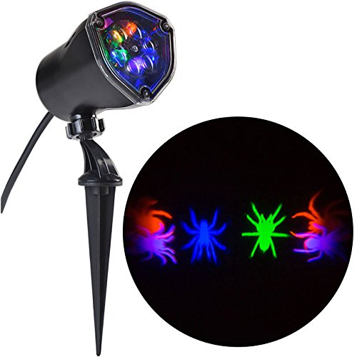 Halloween Multi Color Whirl-a-Motion Spider Projection Stake Light for Halloween, Parties! (Scary Halloween Light Show)