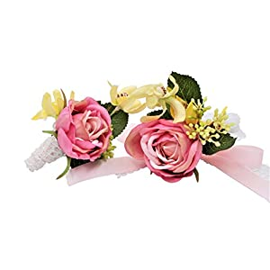Abbie Home Prom Wrist Corsage Brooch Boutonniere Set Wedding Event Party Wristband Hand Flower Décor (8038PI) 34