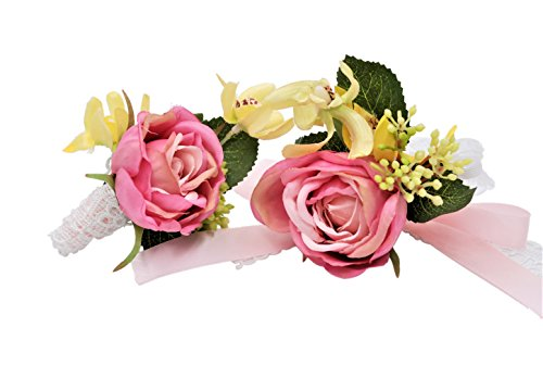 Abbie Home Prom Wrist Corsage Brooch Boutonniere Set Wedding Event Party Wristband Hand Flower Décor (8038PI) (Fresh Flower Corsage)