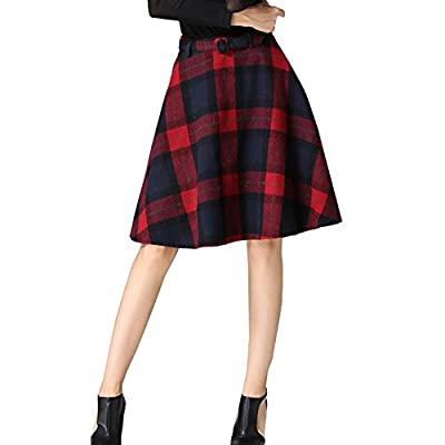 LIYT Women's High Waisted Wool Print Plaid Aline Skirt