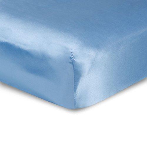 sweet dream Luxury King Size Satin Fitted Sheet - Jewel Blue