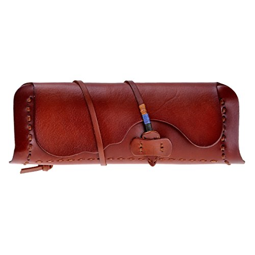 Tanned Leather Clutch (ZLYC Women Handmade Fashion Vegetable Tanned Leather Belt Closure Wallet Clutch, Red Brown)