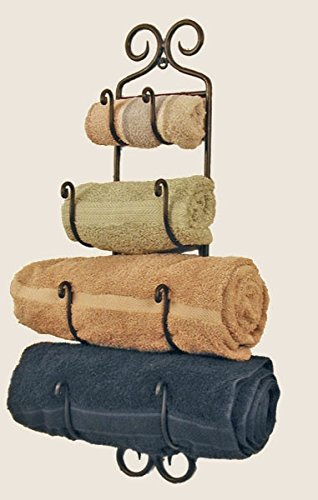 Small Adirondack Towel Rack ~Black Wrought (Colonial Towel Bar)