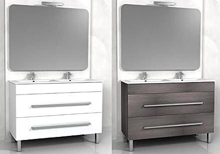 mobile arredo bagno doppio lavabo cm 120 bianco o wengè grigio ... - Arredo Bagno Grigio