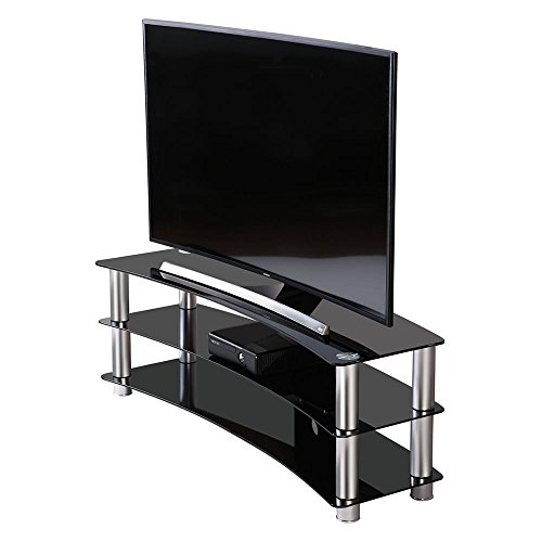 Universal TV Stand base Curved Tempered Glass for up to 55 inch Flat Screen Tv (Furniture Nz Contemporary Outdoor)