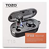 Electronics : TOZO T10 Bluetooth 5.0 Wireless Earbuds with Wireless Charging Case IPX8 Waterproof TWS Stereo Headphones in Ear Built in Mic Headset Premium Sound with Deep Bass for Sport Black