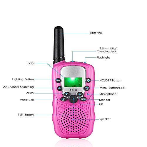 HOCOMO Walkie Talkies for Kids 3 Pack Gift for Girls Boys 22 Channels Two Way Radio 3 Miles Range Flashlight LCD Walkie Talkies for Outdoor Adventures, Camping, Hiking Blue/Pink/Yellow by HOCOMO (Image #2)