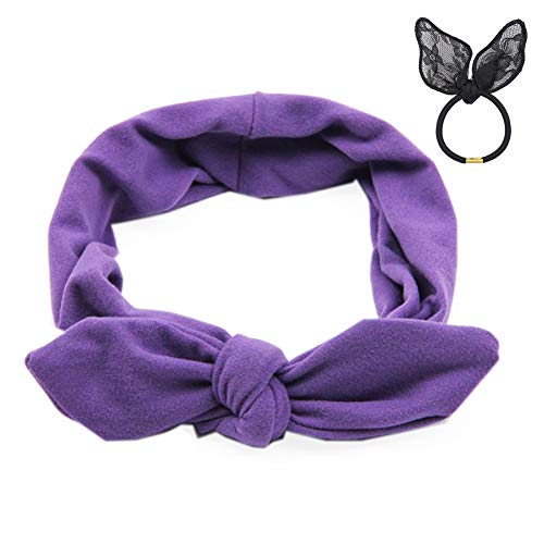 Pop Your Dream Vintage Adults Elastic Headband Cute Bunny Ears Bow Stylish Hairband Twisted Hair Decor Accessory Purple (Lavender Hair Band)
