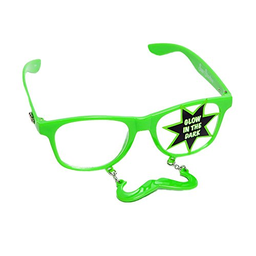 Glow In The Dark Green Handlebar - Glow In Sun Dark Glasses The