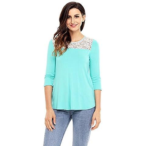 BENNINGCO Womens Fashion Lace Shoulder Low Cut Back Top(Blue,XL) - Underwired Three Quarter Cup Bra