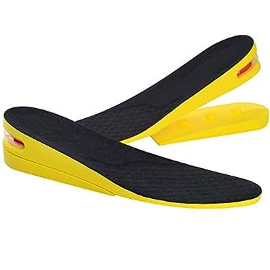 SOUMIT Plantillas Elevador de Altura (39-45) - Invisible 2 Capas 3.5-5CM Inserto de Zapato de la PU, Cojín Respirable del Amortiguador de Aire del Pie del Masaje