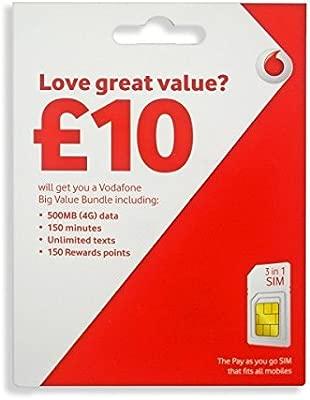 Vodafone 4 G 3 G Pay as you go SIM tarjeta (Micro, Nano ...