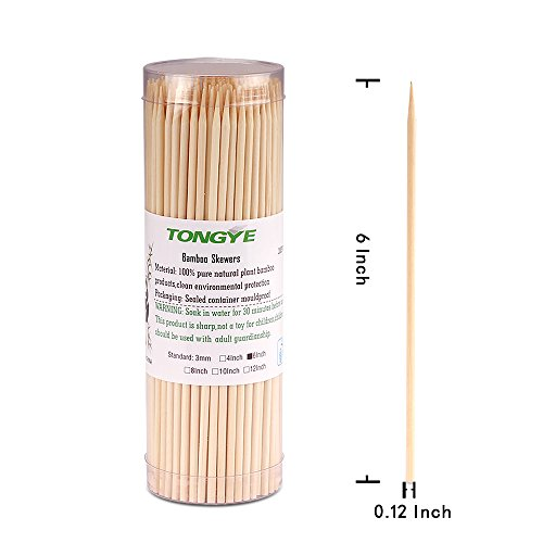 Natural Bamboo Skewers 6 Inch for Appetizer, Cocktail, Kabob, Chocolate Fountain, Fruit. Premium Barbecue Tools - No Splits and Debris, Suitable for Kitchen, Party, Grilling. 600 PCS (3 Packs of 200) by TONGYE (Image #2)