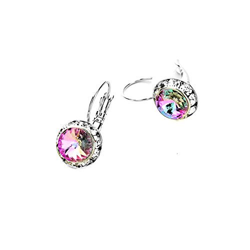 Light Vitrail Austrian Crystal Leverback Earrings