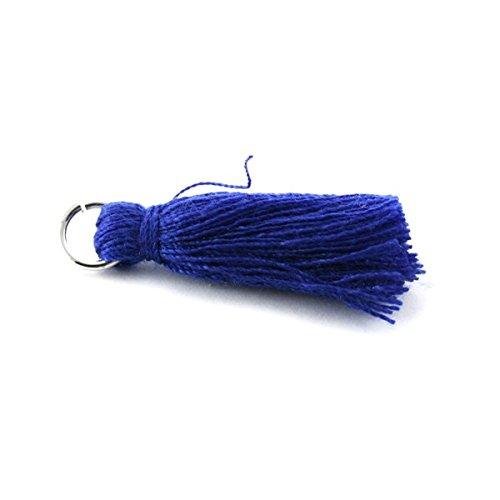 pampille/Pompon in cotone 30mm con anello blu scuro x5 FLTM