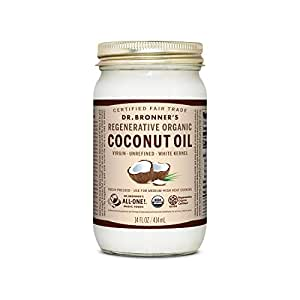 Dr. Bronner's - Regenerative Organic Coconut Oil (White Kernel, 14 Ounce) - Coconut Oil for Cooking, Baking, Hair & Body, Virgin, Unrefined & Fresh-Pressed, Mild Flavor, Versatile, Fair Trade, Vegan