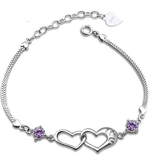 (2019 Fashion Silver Plated Heart Intertwined Crystal Bracelet Adjustable Hand Chain for Women Valentine's Day Gift by FAVOT (Purple) )