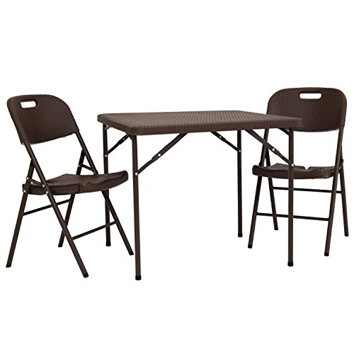 Kinbor Portable Plastic Indoor Outdoor Folding Camping Table and Chair Set Combination (RE16052+RE16053) by Kinbor