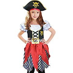Style:Girls Pirate Costume,Pirate Princess Cosplay Dress,High Seas Pirate Girl CostumeContents: Premium Dress with baby overlocked petals,Pirate HatNotice: Choose proper size as per our size chart reference, it runs just right on size ,if you...