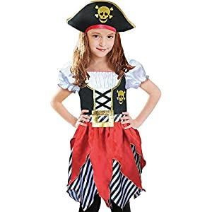 Lingway Toys Girls Deluxe Pirate Costume,Buccaneer Princess Dress for Kids