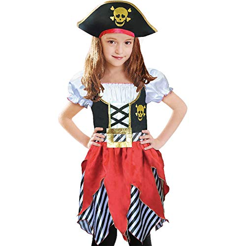 Lingway Toys Girls Deluxe Pirate Buccanner Princess Costume for Kids Size3-4, 5-6,7-8,9-10 (S 5-6) Red/Black]()
