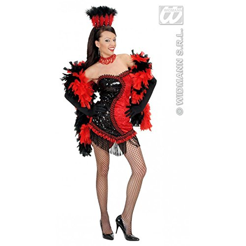 Vegas Girl Costume (Ladies Black/red Vegas Showgirl Costume Medium Uk 10-12 For 70s Theme)