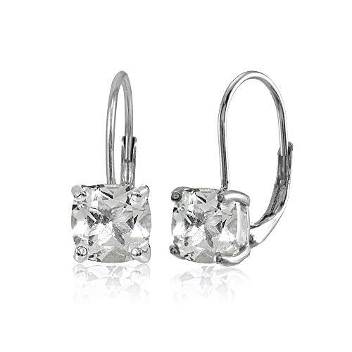 - Sterling Silver Light Green Amethyst 7x7mm Cushion-Cut Leverback Earrings
