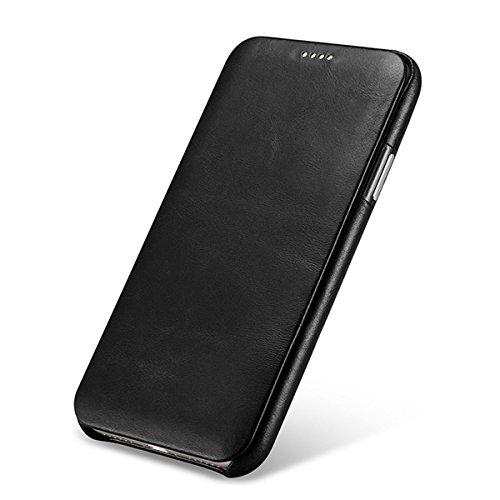 b23f81d84b0 NOVADA Leather iPhone X Case Genuine Leather Flip Cover - Black