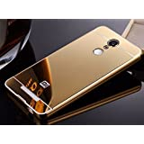 QuaGlass METAL BUMPER ACRYLIC MIRROR BACK COVER CASE FOR REDMI NOTE 3 - Gold + 2.5D CURVE FLEXIBLE TEMPERED GLASS FOR REDMI NOTE 3 (COMBO OFFER)