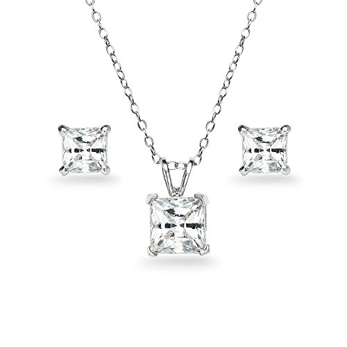 Sterling Silver Princess Cut Solitaire - GemStar USA Sterling Silver Princess-Cut Solitaire Necklace & Stud Earrings Set Made with Swarovski Zirconia