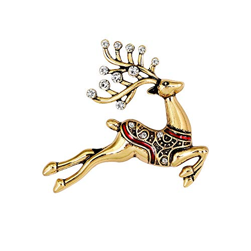 Vintage Antlers Holiday Lapel Pin Brooch Antique Gold Silver Color (Antique Gold) ()