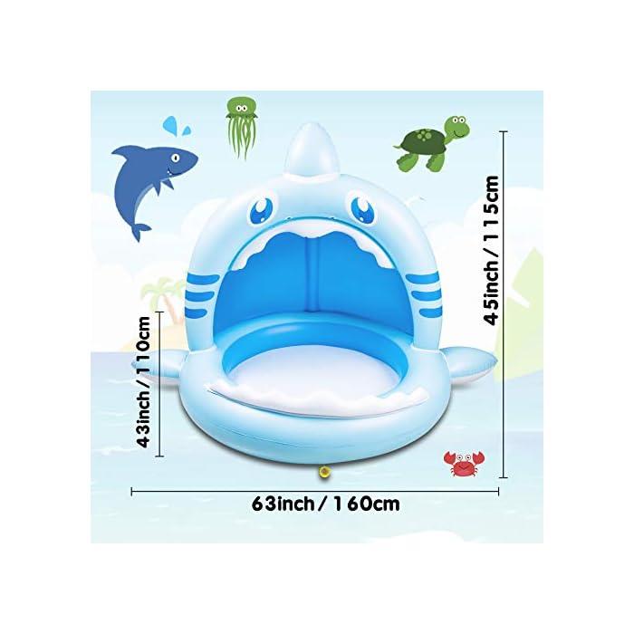 41%2B0K3SrcqL 【Alta calidad】: esta piscina hinchable infantil está hecha de PVC de alta calidad, impermeable y hermética. Es divertido para los bebés y fácil de inflar, lo que mantiene a los niños frescos y seguros. 【Techo de protección solar】: el techo de protección solar protege a los bebés de la luz solar directa. Esta piscina infantil ofrece a su bebé un lugar fresco y fresco en el caluroso verano. 【Adorable diseño con forma de tiburón】: esta piscina infantil para niños tiene la forma de un tiburón, es muy linda y adecuada para bebés y niños. Y tu bebé se enamorará de este piscina hinchable.
