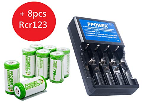 PPOWER 4 Slots li-ion Battery Charger with RCR123A Rechargeable Batteries (8-Pack) 3.7V Battery Arlo Wireless Security Cameras (VMC3030/VMK3200/VMS3330/3430/3530) CE/IEC62133 Certificated