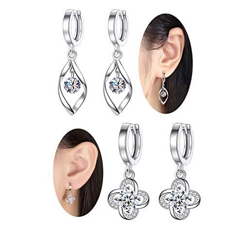 925 Sterling Silver Huggie Small Hoop Earrings(2 Pairs)