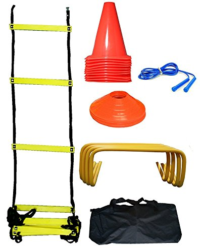 CW Soccer Football Pro Training Kit Complete For Speed & Agility Training Excersise Including (Ladder+Tall Ground Marking Cons + Skipping Rope Hurdles+Sucer Cones) all kit with carry kit bag by C&W