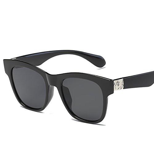 LLZTYJ Gafas De Sol/Viento/Sol/Playa/Aire Libre/Cumpleaños/Regalo/San Valentín/Gafas De Sol Para Mujer Cara Redonda/Gafas De Sol/Gafas Para Mujer, Caja Negra Ceniza Negra (Caja + Tela)