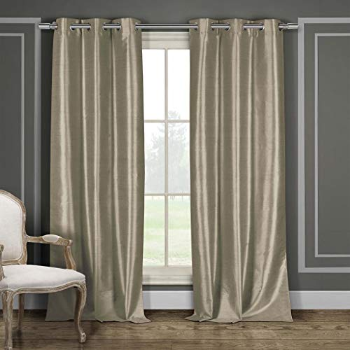 Duck River Textiles - Home Fashion Solid Faux Silk Grommet Top Window Curtains for Living Room & Bedroom - Assorted Colors - Set of 2 Panels (38 X 96 Inch - Mocha Brown) ()