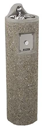 Haws 3060 Vibra-Cast Reinforced Round Concrete Pedestal Drinking Fountain with Exposed Aggregate Finish