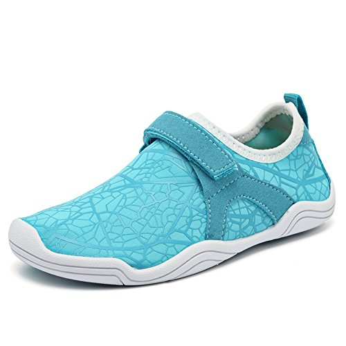 Fantiny Boys & Girls Water Shoes Lightweight Comfort Sole Easy Walking Athletic Slip on Aqua Sock(Toddler/Little Kid/Big Kid) DKSX-w.blue-34