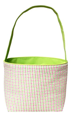 - Pastel Checkered Seersucker Fabric Basket Bucket Tote Bag - Custom Embroidered Personalization Available (Green Gingham Check)