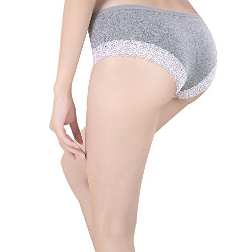 (SPFAS)少女コットン通気性快適性パンツ純綿下着レースブリーフショーツレディース4枚(4色)