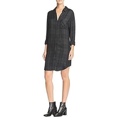 Rails Womens Bianca Plaid Shift Shirtdress Black M